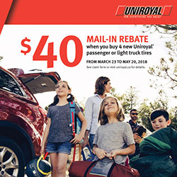 Uniroyal 2018 Summer Tire Rebate